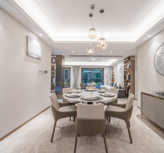modern dining room in luxury model house